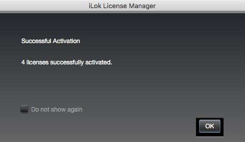 新しいライセンスのアクティベート完了画面